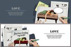 złamane serce Dziewczyna kłama na łóżku i płaczu ilustracji