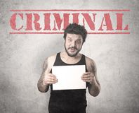 Złapany gangster w więzieniu obraz stock