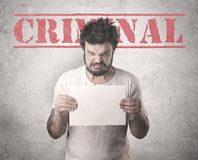 Złapany gangster w więzieniu fotografia stock