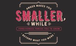 Złość robi ciebie mały, podczas gdy przebaczenie zmusza ciebie rosnąć poza co byłeś ty royalty ilustracja