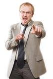 złości mężczyzna krzyków kostium obraz royalty free
