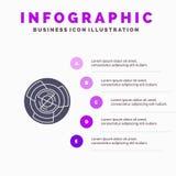 Złożoność, biznes, wyzwanie, pojęcie, labitynt, logika, labirynt ikony Infographics 5 kroków prezentacji Stały tło ilustracja wektor