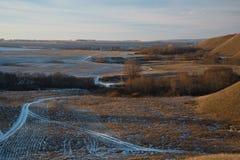 Złożony jesień krajobraz przecinać drogę iść nieskończoność Obraz Royalty Free