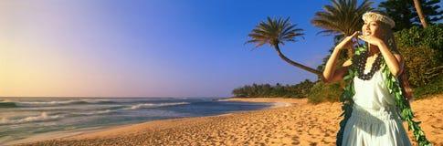 Złożony panoramiczny wizerunek Hawajski rodzimy tancerz i linia brzegowa w Hawaje Zdjęcie Stock