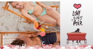Złożony wizerunek śliczna valentines para Fotografia Royalty Free