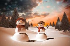 Złożony wizerunek śnieżna rodzina Obrazy Royalty Free