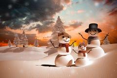 Złożony wizerunek śnieżna rodzina Zdjęcie Royalty Free