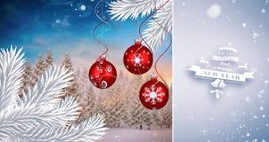 Złożony wizerunek śnieżny spadać Fotografia Royalty Free