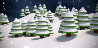 Złożony wizerunek śniegi zakrywający drzewa ilustracja wektor