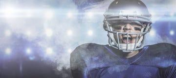 Złożony wizerunek agresywny futbolu amerykańskiego gracz Obraz Royalty Free