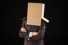 Złożony wizerunek anonimowy biznesmen z rękami krzyżować zdjęcia stock
