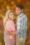 Złożony wizerunek atrakcyjny pary kręcenie, ono uśmiecha się przy kamerą i Obrazy Royalty Free