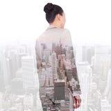 Złożony wizerunek azjatykci bizneswomanu odprowadzenie Zdjęcia Stock