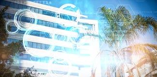 Złożony wizerunek błękitny i czarny technologii tarczy projekt Zdjęcie Royalty Free