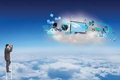 Złożony wizerunek biznesmen pozycja na drabinie używać lornetkę Fotografia Stock