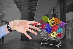 Złożony wizerunek biznesmena mienia ręka out w prezentaci Zdjęcie Royalty Free
