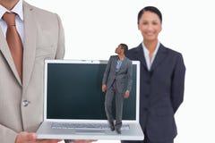 Złożony wizerunek biznesmena patrzeć i pozycja Obraz Royalty Free