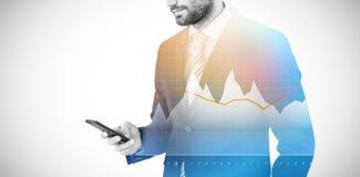 Złożony wizerunek biznesmena wysylanie sms na telefonie komórkowym 3d Obraz Stock