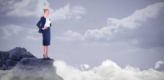 Złożony wizerunek bizneswoman pozycja z rękami na biodrach Zdjęcie Royalty Free