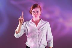 Złożony wizerunek bizneswomanu wskazywać i pozycja obrazy royalty free