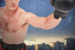 Złożony wizerunek boksera spełniania bokserska postawa obrazy royalty free
