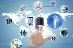 Złożony wizerunek cropped ręka doktorski wzruszający cyfrowy ekran 3D Zdjęcie Stock