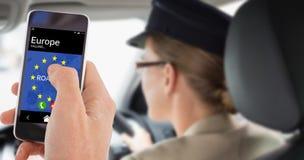 Złożony wizerunek cropped ręka mężczyzna używa telefon komórkowego Zdjęcia Stock