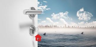 Złożony wizerunek cyfrowo wytwarzający wizerunek doorknob ilustracji