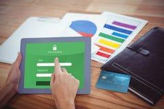Złożony wizerunek cyfrowo wytwarzający wizerunek światowa kredytowa karta Zdjęcie Stock