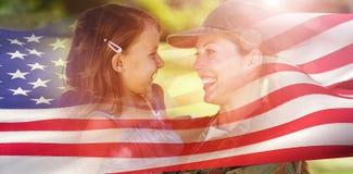 Złożony wizerunek cyfrowo wytwarzam flaga amerykańskiej pluskotać Obraz Royalty Free