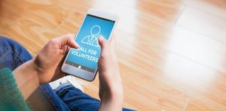 Złożony wizerunek cyfrowo złożony wizerunek wezwanie dla wolontariusza teksta z ludzką ikoną Fotografia Stock