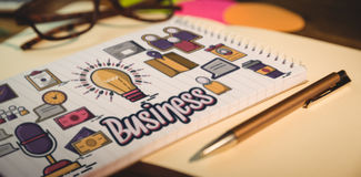 Złożony wizerunek cyfrowy wytwarzający wizerunek biznesowy tekst z różnorodnymi ikonami Obraz Stock