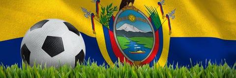 Złożony wizerunek czarny i biały rzemienny futbol ilustracja wektor