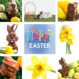 Złożony wizerunek czekoladowy królik z małymi Easter jajkami Fotografia Royalty Free
