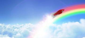 Złożony wizerunek czerwonej i białej rakiety zabawka przeciw bielu ekranowi ilustracji