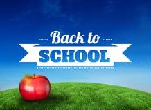 Złożony wizerunek czerwony jabłko z z powrotem szkoły wiadomość ilustracji