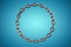 Złożony wizerunek 3d wizerunek błyszczący kruszcowy kurenda łańcuch ilustracji