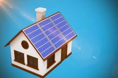 Złożony wizerunek 3d wizerunek dom z panel słoneczny Zdjęcie Royalty Free