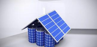 Złożony wizerunek 3d wizerunek robić od panel słoneczny i komórek domu model Zdjęcie Stock