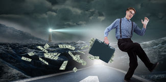 Złożony wizerunek działający biznesmen zdjęcie stock