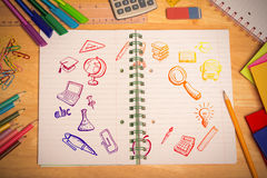 Złożony wizerunek edukacj doodles Fotografia Stock