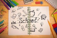 Złożony wizerunek edukacj doodles Fotografia Royalty Free