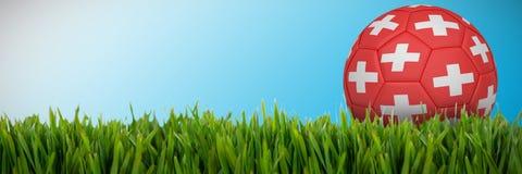 Złożony wizerunek futbol w Switzerland colours royalty ilustracja