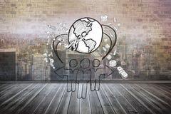 Złożony wizerunek globalny społeczności doodle fotografia royalty free