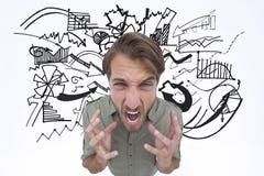 Złożony wizerunek gniewny mężczyzna krzyczeć zdjęcie stock