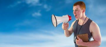 Złożony wizerunek gniewny osobisty trener wrzeszczy przez megafonu Obrazy Royalty Free