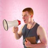 Złożony wizerunek gniewny osobisty trener wrzeszczy przez megafonu Zdjęcie Stock