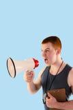 Złożony wizerunek gniewny osobisty trener wrzeszczy przez megafonu Zdjęcie Royalty Free