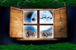 Złożony wizerunek jodły gałąź bożych narodzeń dekoraci girlanda Zdjęcia Stock