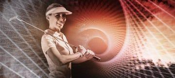 Złożony wizerunek kobieta golfowy gracz patrzeje kamerę Obraz Stock